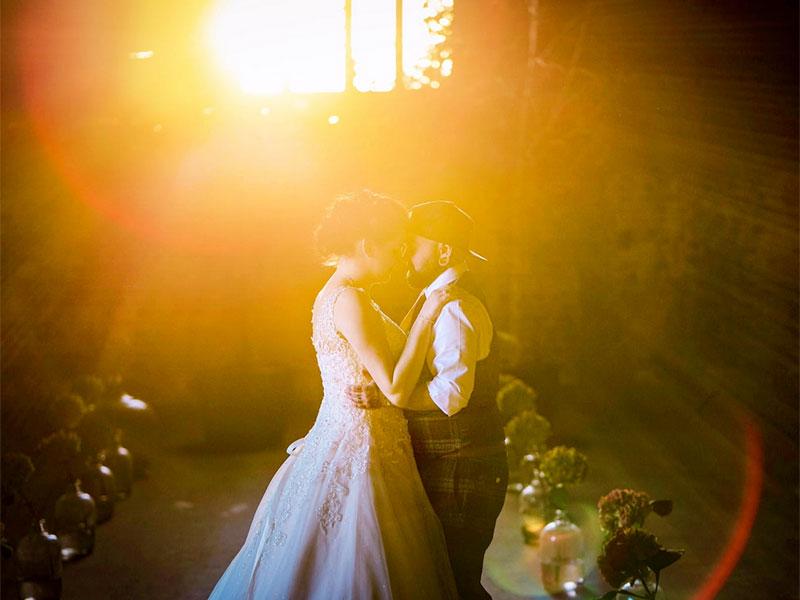 Wedding dance at a rustic barn wedding in hampshire