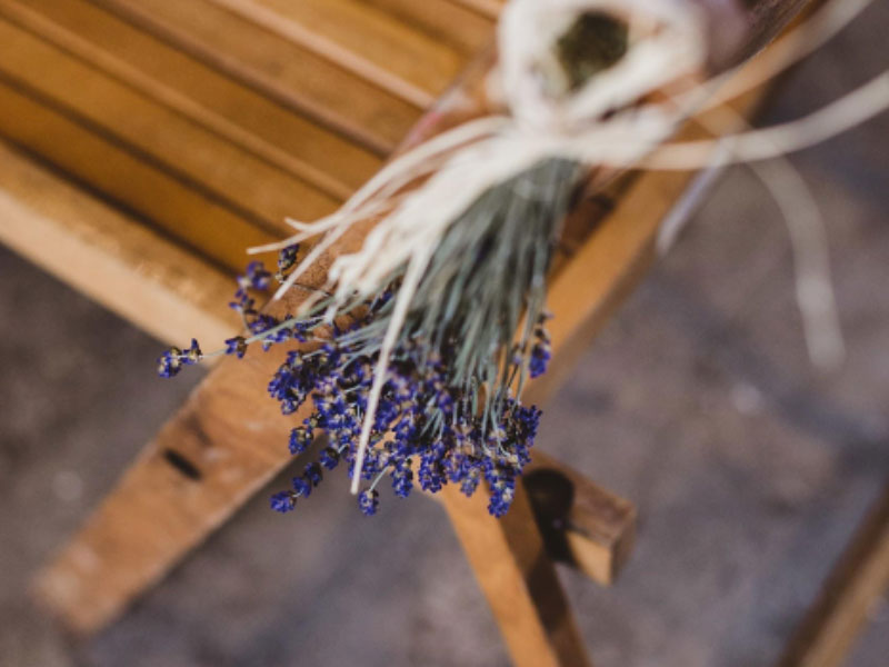 Chair lavendar at a rustic barn wedding in Hampshire